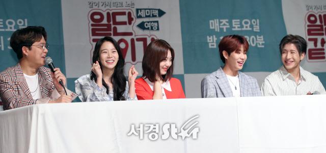 토니안-한승연-김소혜-아스트로 MJ-진진, 화기애애 (일단 같이가 제작발표회)
