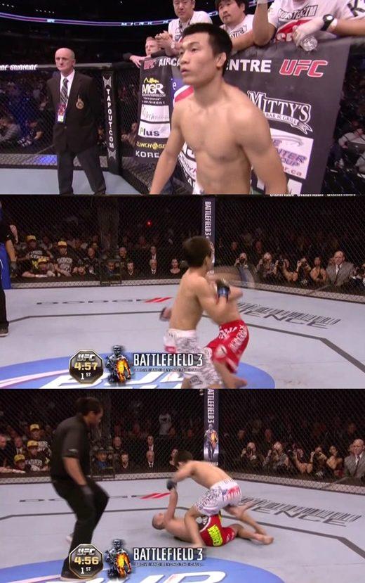 'UFC 140' 정찬성 2연승, 마크 호미닉 상대 7초만 KO승