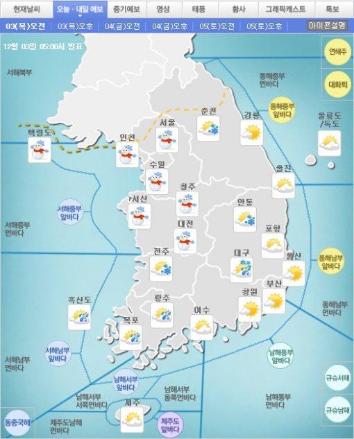 [일기예보] 기상청, 낮 최고기온 1~9도… 내일 아침 최저기온 영하5도