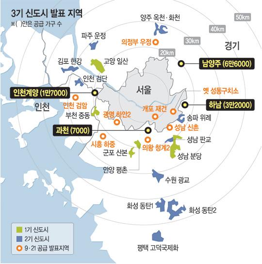 '3기 신도시' 남양주·하남·계양·과천 선정