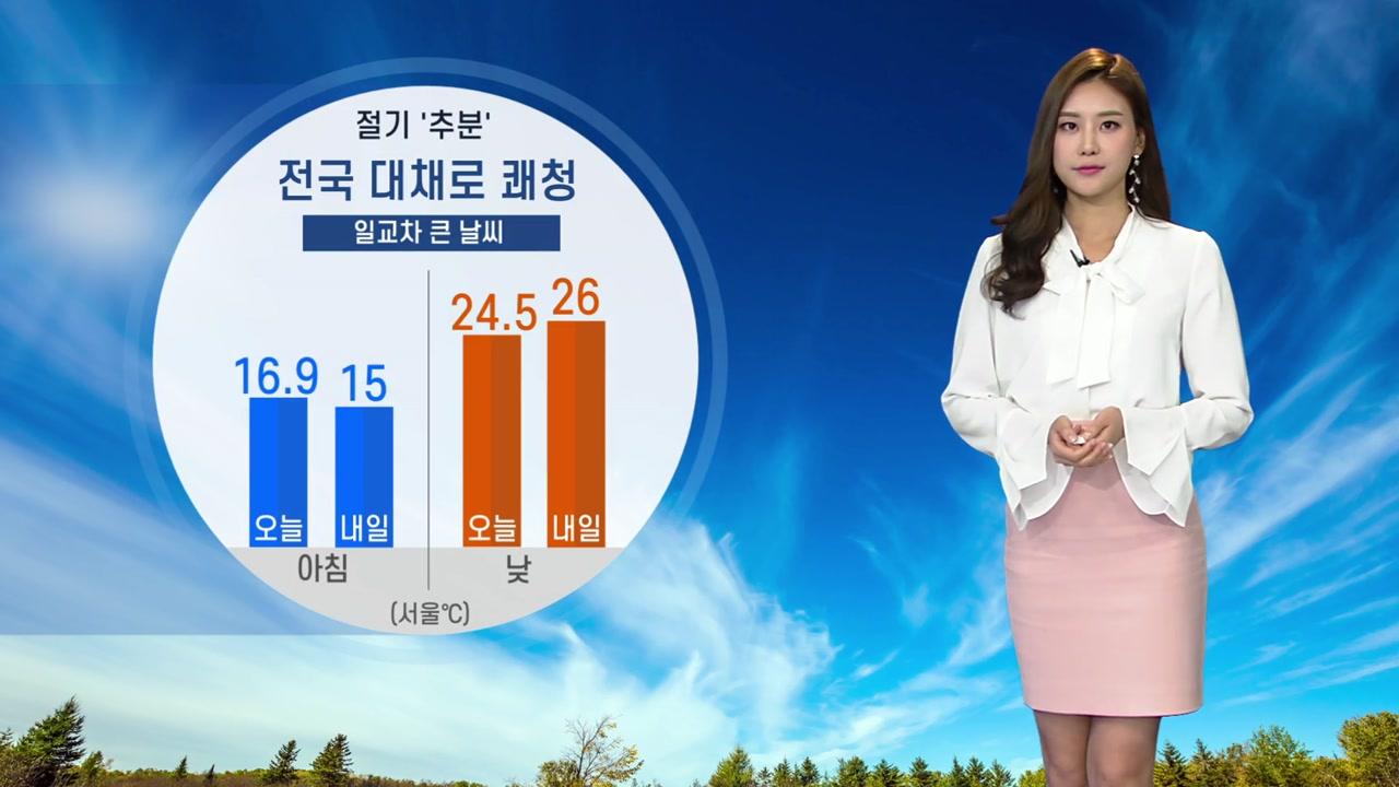 [날씨] 절기 '추분' 전국 대체로 쾌청...일교차 커요