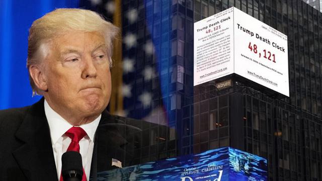 '트럼프 죽음의 시계' 등장… 코로나19 누적 사망자의 60% 표시