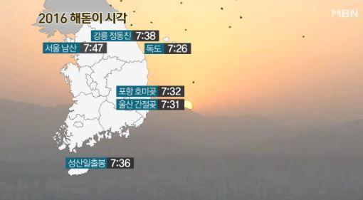 해 뜨는 시간, 전국 해돋이 시간 보니? 새해 첫 일출 '독도서 7시 26분'