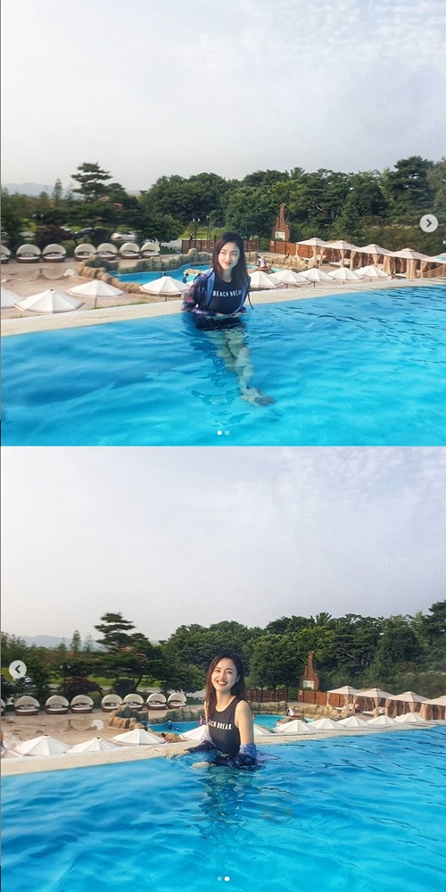 """유웨이, 수영장 인증샷…""""수영 못하는 물고기""""[M+★SNS]"""