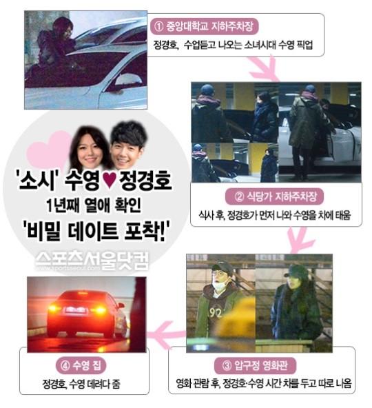 [단독] '소시' 수영-정경호, 1년째 열애 확인…'비밀 데이트 포착!'(종합)