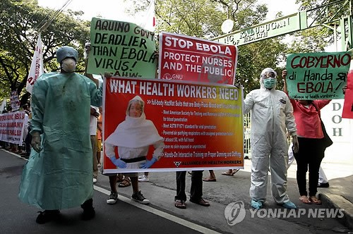 PHILIPPINES EBOLA PROTEST - 포토뉴스