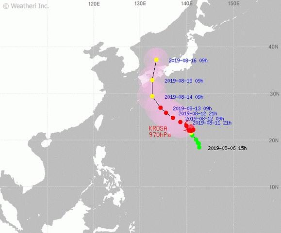 태풍 '크로사' 예상 경로…15일 일본 관통, 울릉도·독도 16일 영향권