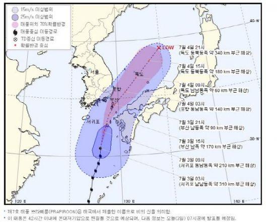 태풍 진로 예상, 3일 부산 태풍 예비특보…150mm 폭우