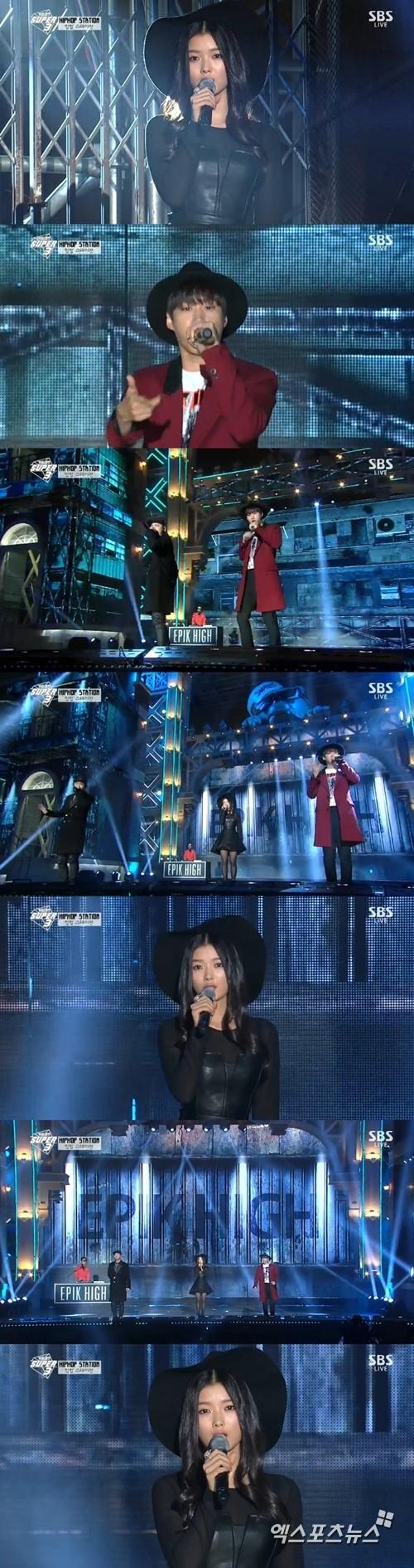 '가요대전'에서 에픽하이와 김유정이 콜라보레이션 무대를 꾸몄다. ⓒ SBS 방송화면