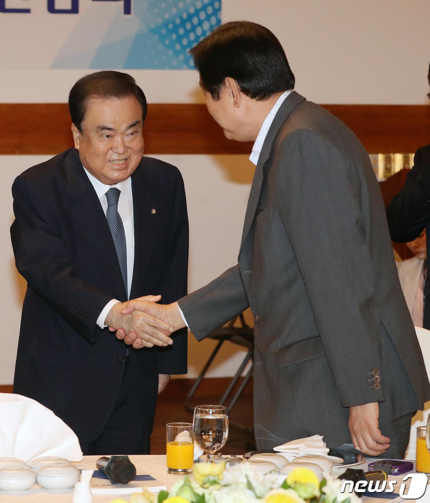 김무성 의원과 인사 나누는 문희상 국회의장