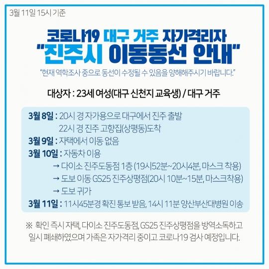 진주시청, 코로나19 3번째 확진자…신천지 교육생 '자가격리' 중 진주 방문