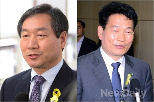 [포토]인천선관위 방문한 유정복-송영길 후보