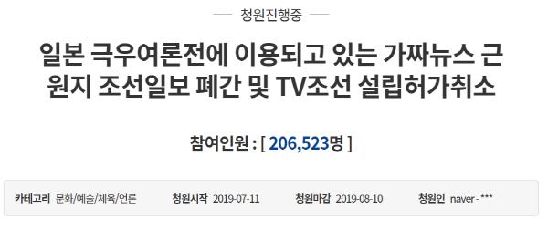 조선일보 폐간·TV조선 허가 취소, 청와대 청원 20만명 돌파
