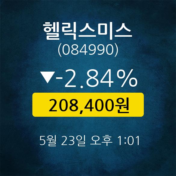 [스타★주식인사이드] 헬릭스미스, 주가 208,400원(5월 23일 13시 1분 기준)