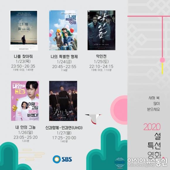 SBS 설 영화 황금라인업 공개...나의 특별한 형제-악인전-신과함께 인과연!!