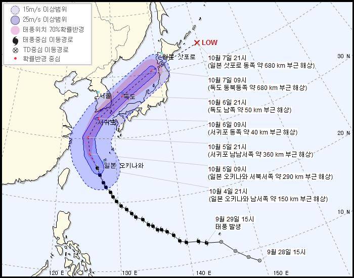 제25호 태풍 '콩레이' 빠르게 북상...현재위치와 예상진로는?