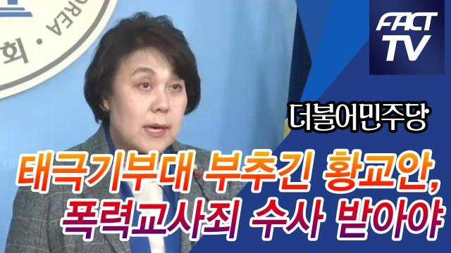 """[영상] 민주 """"태극기부대 부추긴 황교안, 폭력교사죄 수사 받아야"""""""
