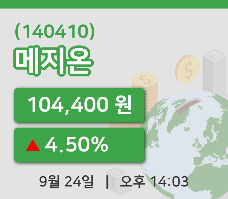 [메지온주가] 24일 이시각 현재  104,400원
