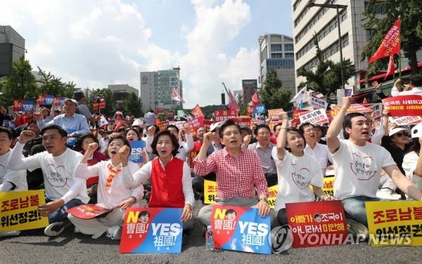 한국당 2주째 장외집회…조국 사퇴 압박