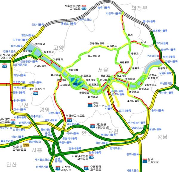 실시간 교통정보, 수도권 현재 정제 구간은?