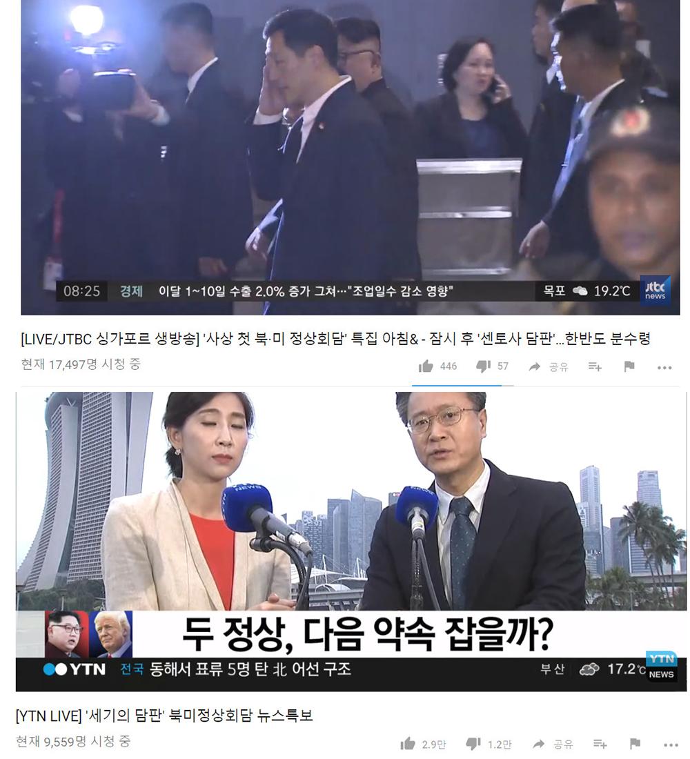 JTBC온에어-YTN실시간 뉴스 현재 1만 명 가까이 시청…'역사적인 회담 때문'