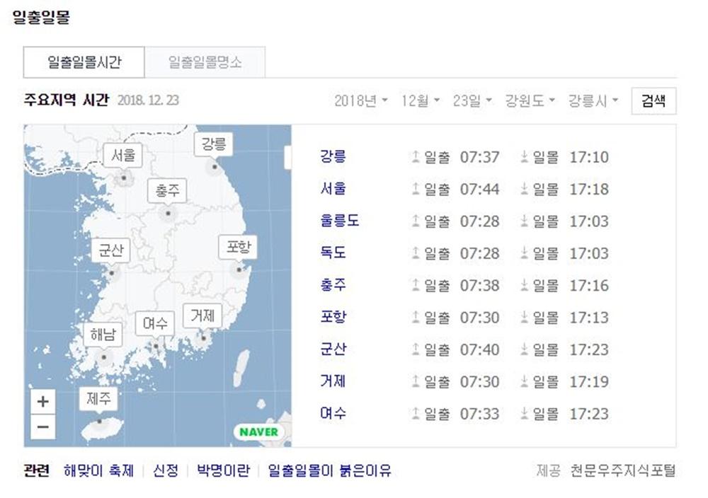 23일 오늘 해뜨는시간(일출시간) 및 일출일몰 명소는?…'서울 일출 7시 44분 일몰 17시 18분'