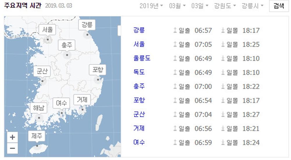 2일 토요일, 서울-강릉-여수 등 주요 지역 일출·일몰 시간