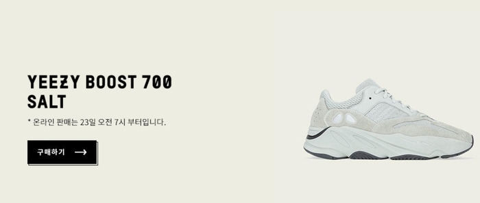 아디다스 온라인 스토어, 오늘(23일) 이지부스트 700 솔트 판매..'접속 불가'