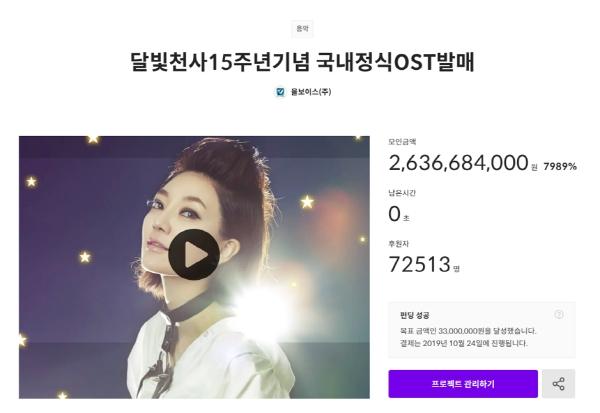 텀블벅, 달빛천사 OST 펀딩에 26억 원 모여...국내 크라우드펀딩 역대 최다 금액 기록