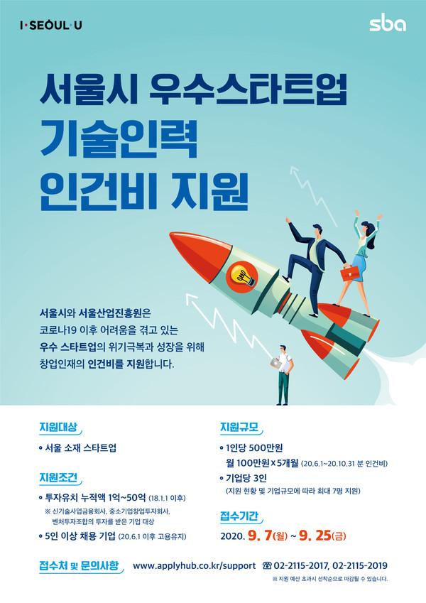 SBA, 서울 기술 창업기업에 인건비 500억원 지원....오늘 접수 시작