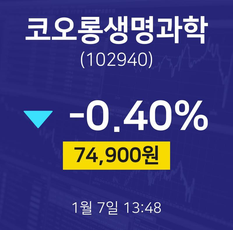코오롱생명과학주식종목  7일  현재 74900원