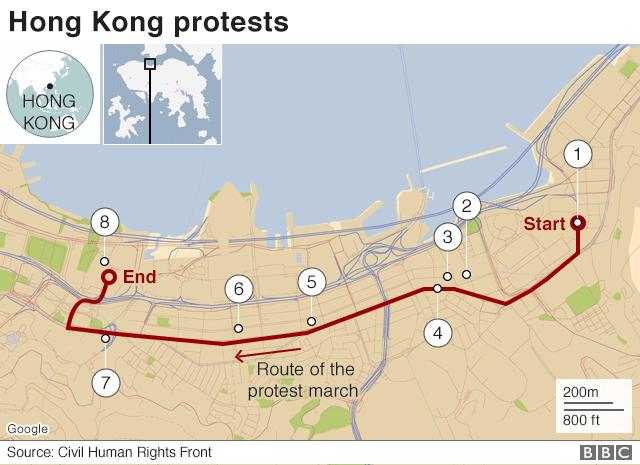 홍콩 시위: 역대 최대 200만 모여...8장의 사진으로 보는 홍콩 시위