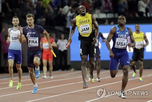 볼트, 악몽의 마지막 경기…영국, 남자 400m계주 첫 우승