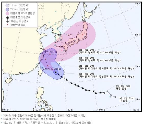 태풍 `탈림` 경로 바꿔 일본으로… 주말 제주·남해안 영향권