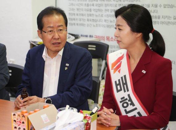 """'선거법 위반 논란' 홍준표 """"교육감은 박선영 찍었다"""""""