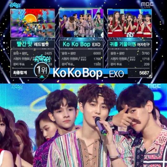 `음악중심` 엑소 1위 차지, 트리플 크라운 + 11관왕