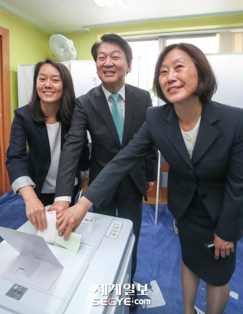 투표하는 안철수 서울시장 후보