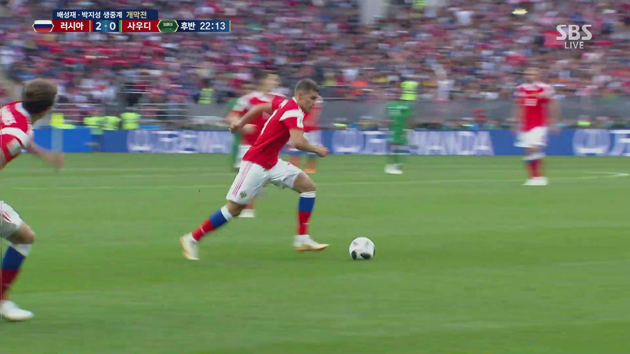 [영상][러시아 : 사우디] 후반 22분, 러시아 로만 조브닌의 멋진 슛팅!!