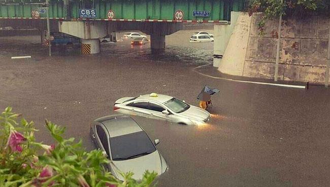 폭우에 잠긴 부산