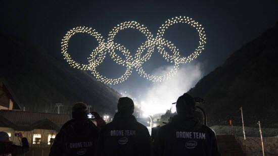 [2018평창] 올림픽 밤하늘 밝힌 오륜기…1218대 인텔 드론에 주목