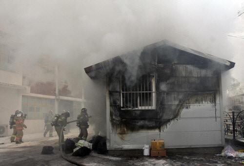 청주 초등학교 화재 원인은 아르바이트생의 담뱃불