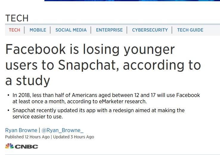 미국 젊은이들 페이스북 버리고 스냅챗으로 간다