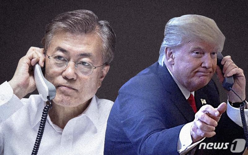 """文대통령-트럼프 """"북미 합의 신속 이행…한미 협력""""상보"""