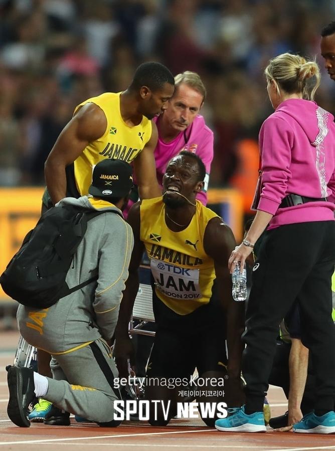 우사인 볼트, '은퇴 경기'에서 부상으로 쓰러져…영국 400m 계주 1위, 일본은 3위