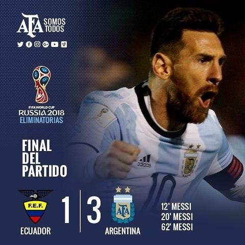 [2018 러시아 월드컵 최종예선] '메시 해트트릭' 아르헨티나, 에콰도르 3-1로 꺾고 '구사일생'