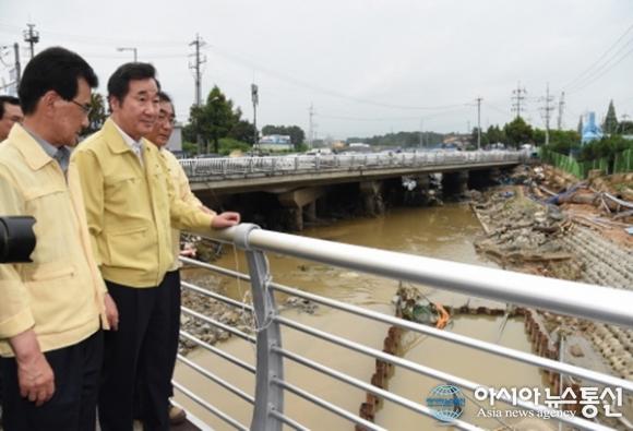 이낙연 국무총리, 충북 청주 호우피해지역 방문 점검