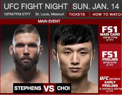 UFC 웹페이지 메인 장식한 최두호와 스티븐스