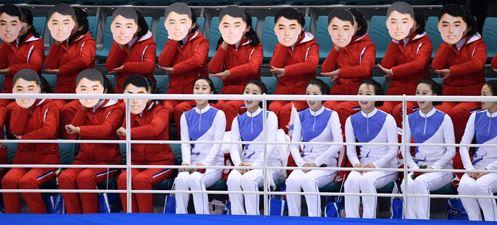 [평창올림픽] 북한 응원단 `김일성 가면`쓰고 응원? 통일부 ¨잘못된 추정¨ 공식입장