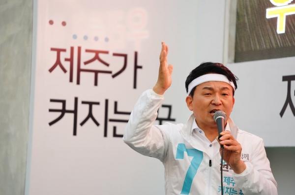 """`6.13 지방선거` 원희룡 """"당선? 아직 조심스럽지만""""…출구조사 소감"""