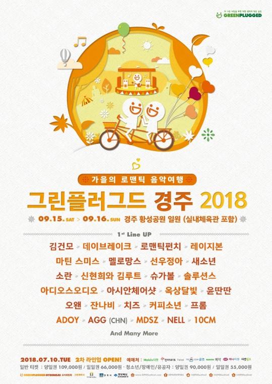 '그린플러그드 경주 2018' 1차 라인업 공개